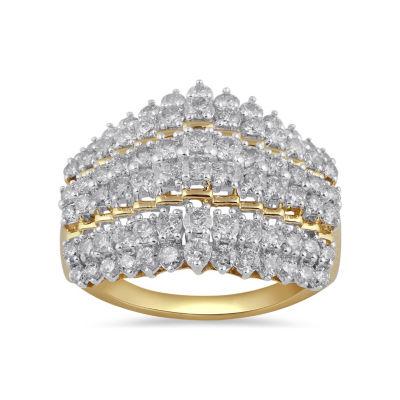 Womens 2 CT. T.W. Genuine Yellow Diamond 10K Gold Cocktail Ring