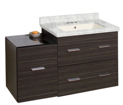 37.75-in. W Wall Mount Dawn Grey Vanity Set For 3H4-in. Drilling Bianca Carara Top Biscuit UM Sink