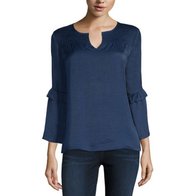 Liz Claiborne Long Sleeve Scoop Neck Woven Blouse