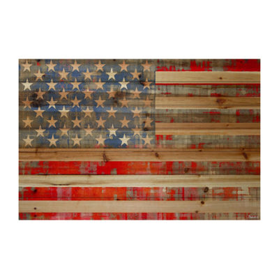 American Dream Painting Print on Natural Pine Wood