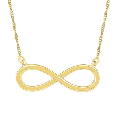 Womens 10K Gold Infinity Pendant Necklace
