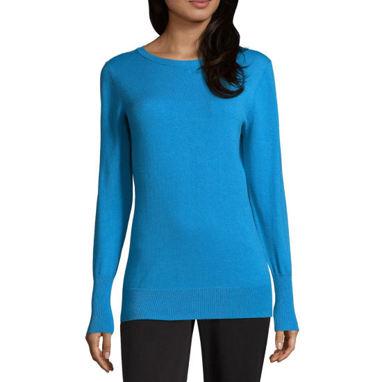 Worthington Womens Crew Neck Long Sleeve Pullover Sweater