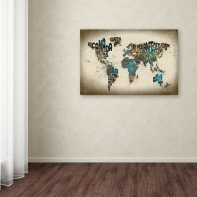 Trademark Fine Art Michael Tompsett Map of the World Watercolor III Giclee Canvas Art
