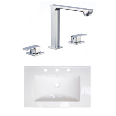 24-in. W 3H8-in. Ceramic Top Set In White Color -CUPC Faucet Incl.