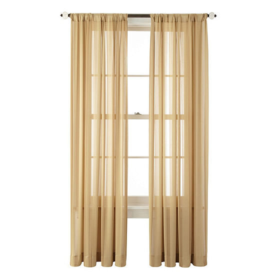 JCPenney Home Cherise Rod-Pocket Sheer Curtain Panel
