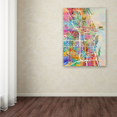 Trademark Fine Art Michael Tompsett Chicago City Street Map by Michael Tompsett Graphic Art on Wrapped Canvas Giclee Canvas Art