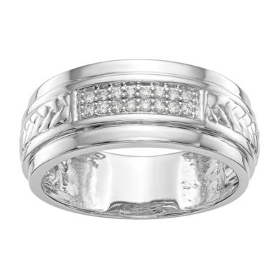 Mens 9M 1/8 CT. T.W. Genuine White Diamond 14K White Gold Wedding Band