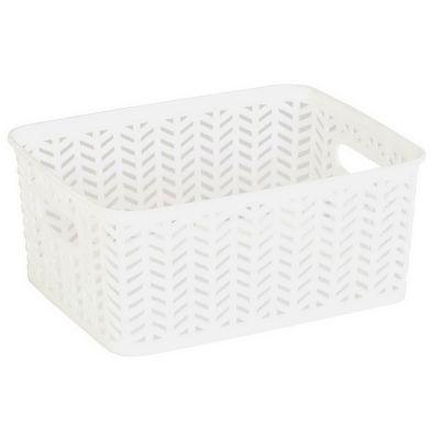 Resin Herringbone Storage Tote-White-Small 10X8X4