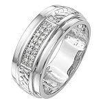 9M 1/8 CT. T.W. Genuine White Diamond 14K White Gold Wedding Band