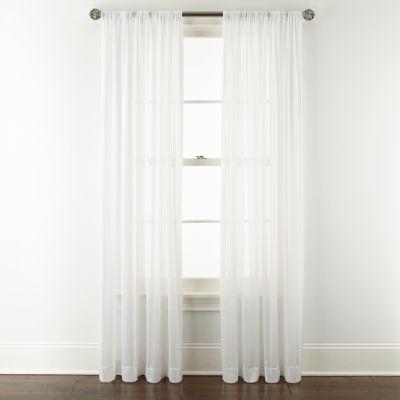 JCPenney Home Cherise Sheer Rod-Pocket Single Curtain Panel