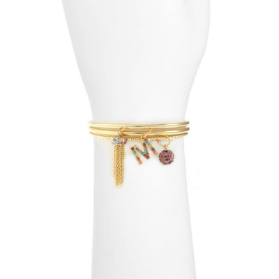 Liz Claiborne Multi Color Gold Tone Bangle Bracelet