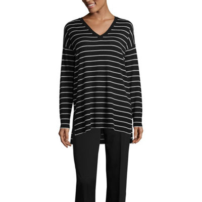 Worthington Long Sleeve V Neck Stripe Pullover Sweater