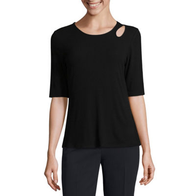 Worthington Short Sleeve T-Shirt-Womens