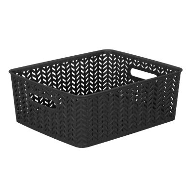 Resin Herringbone Storage Tote -Black- Medium 14 X11.5 X 5.15