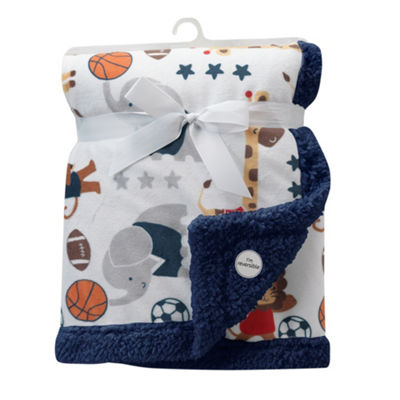 Lambs & Ivy Future All Star Blue/Red Sports Minky/Sherpa Blanket Baby Blankets