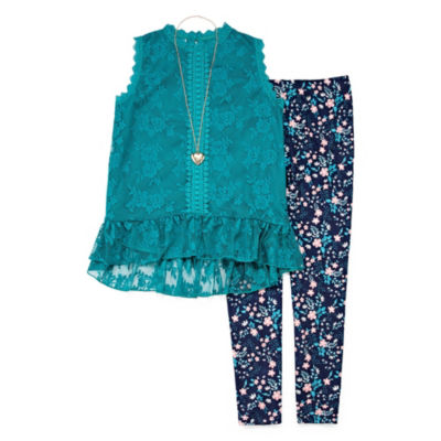 Knit Works Victorian Lace Legging Set with Necklace - Girls' 4-16 & Plus