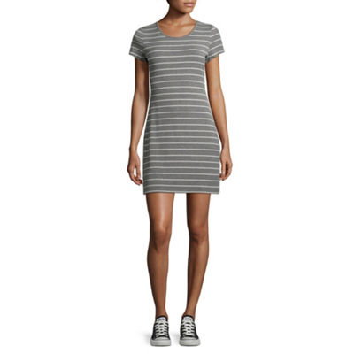 Arizona Short Sleeve Stripe Bodycon Dress-Juniors