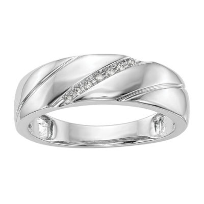 Mens 5.5MM Diamond Accent Genuine White Diamond 14K White Gold Wedding Band