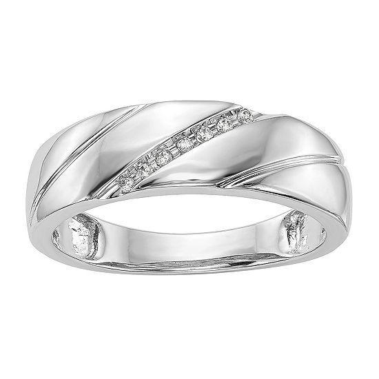 5.5MM Diamond Accent Genuine White Diamond 14K White Gold Wedding Band