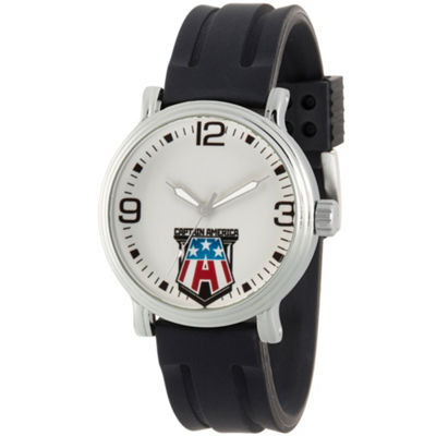 Captain America Mens Black Strap Watch-Wma000269