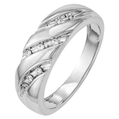 Mens 6mm 1/8 CT. T.W. Genuine White Diamond 14K White Gold Wedding Band