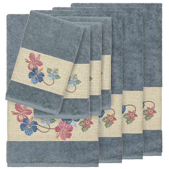 Linum Home Textiles 100% Turkish Cotton Caroline 8PC Embellished Towel Set