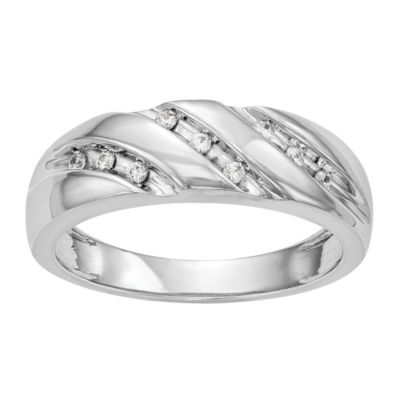 Mens 6mm 1/8 CT. T.W. Genuine White Diamond 14K White Gold Wedding Band