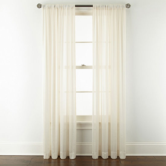 JCPenney Home Cherise Sheer Rod-Pocket Single Curtain Panel