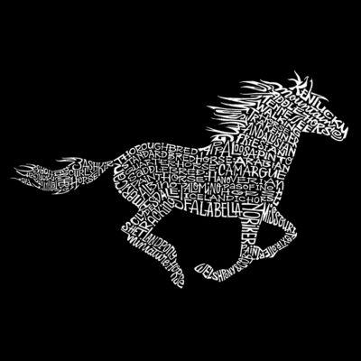 Los Angeles Pop Art Men's Big & Tall Raglan Baseball Word Art T-shirt - Horse Breeds