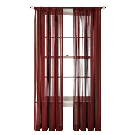 JCPenney Home Cherise Sheer Rod-Pocket Single Curtain Panel, One Size , Red