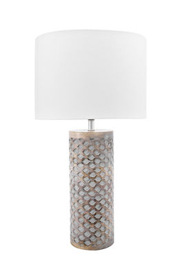 "Watch Hill 21"" Elena Carved Wood Cotton Shade Table Lamp"