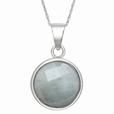 Womens Genuine Blue Aquamarine Sterling Silver Round Pendant Necklace