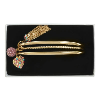 Liz Claiborne Multi Color Gold Tone Bangle Bracelet