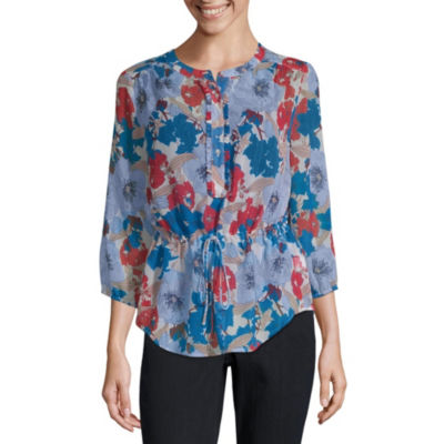Liz Claiborne Womens Henley Neck 3/4 Sleeve Blouse