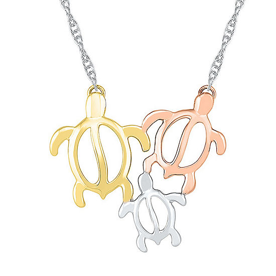 Womens 10K Tri-Color Gold Pendant Necklace