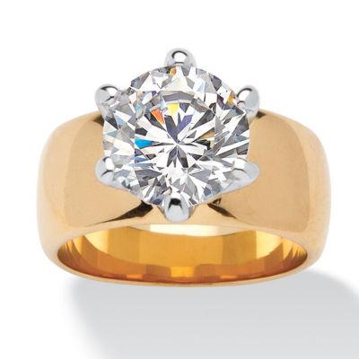 Diamonart Womens 4 CT. T.W. White Cubic Zirconia 18K Gold Over Brass Engagement Ring