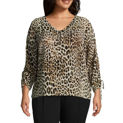 Worthington Cinched Sleeve zipper Front Printed Woven Blouse