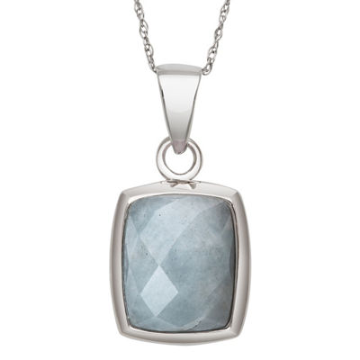 Womens Genuine Blue Aquamarine Sterling Silver Rectangular Pendant Necklace