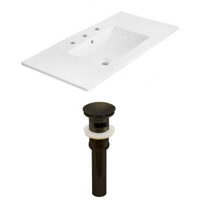 35.5-in. W 3H8-in. Ceramic Top Set In White Color- Overflow Drain Incl.