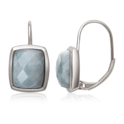 Genuine Blue Aquamarine Sterling Silver Rectangular Drop Earrings