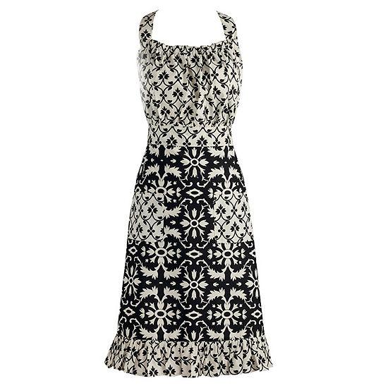 Black And White Mixed Print Vintage Apron