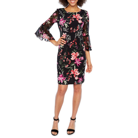 Studio 1 Elbow Sleeve Floral Shift Dress