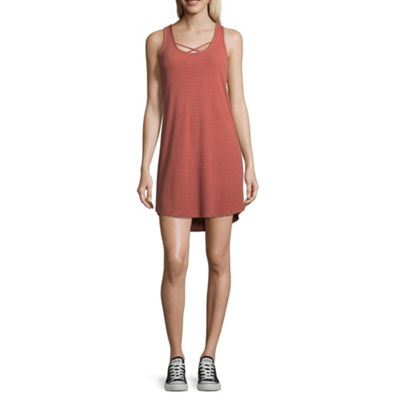 Arizona Sleeveless Stripe A-Line Dress-Juniors