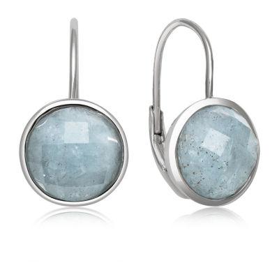 Genuine Blue Aquamarine Sterling Silver Round Drop Earrings