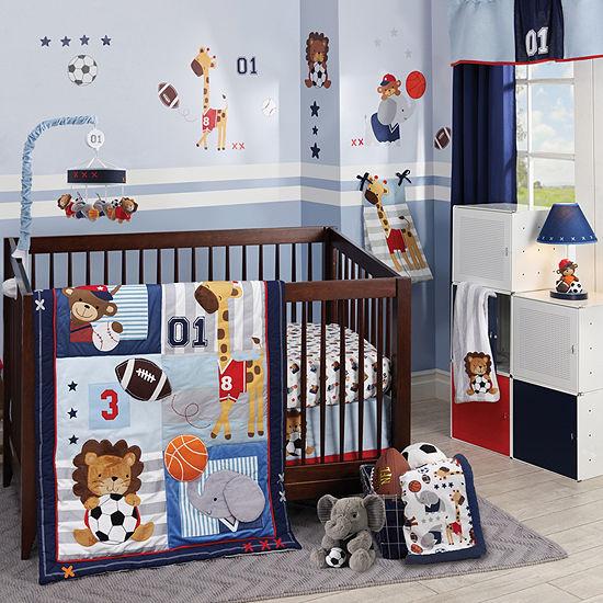 Lambs & Ivy Future All Star Blue/Gray Sports 4 Pc Crib Bedding Set 4-pc. Crib Bedding Set