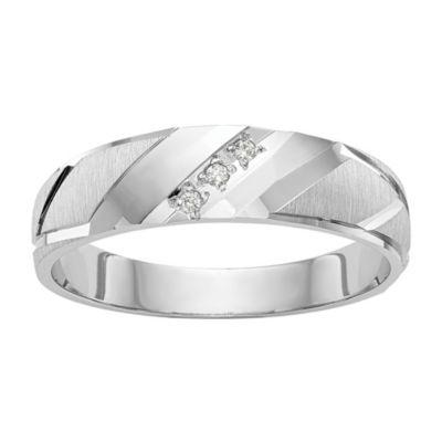 Mens 3.5mm Diamond Accent Genuine White Diamond 14K White Gold Wedding Band