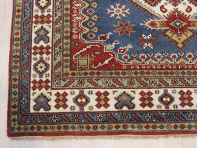 Hand-Knotted Wool Traditional Geometric Kazak Rug