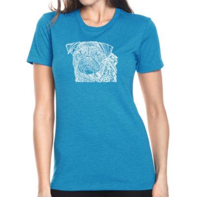 Los Angeles Pop Art Women's Premium Blend Word ArtT-shirt - Pug Face