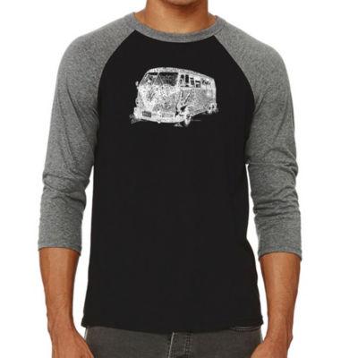 Los Angeles Pop Art Men's Big & Tall Raglan Baseball Word Art T-shirt - THE 70'S