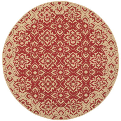 Safavieh Courtyard Collection Spots Oriental Indoor/Outdoor Round Area Rug
